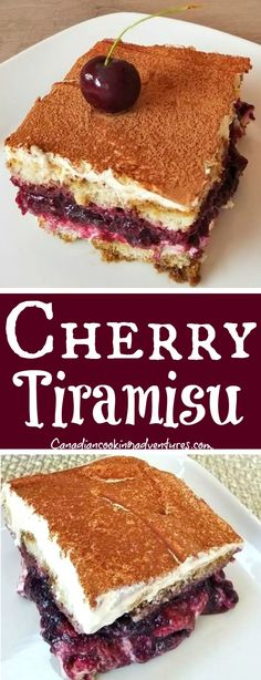 This Super delicious and decadent Cherry Tiramisu is a cross between Black Forest Cake and Tiramisu! Fun Easy Recipes, Best Dessert Recipes, Cupcake Recipes, Easy Desserts, Delicious Desserts, Cherry Recipes, Cherry Cake Recipe, Italian Desserts, Chocolate Recipes