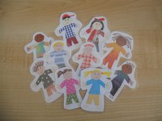 Cute Kid-made paper people - cut out and laminate or mod podge onto wood blocks Paper People, How To Make Paper, Wood Blocks, Toddler Activities, Projects For Kids, Cute Kids, Coconuts, Counting, Homemade