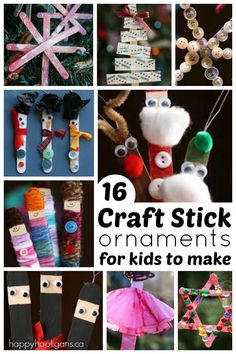16 Ridiculously Cute Craft Stick Ornaments for Kids to Make - from ballerinas to ninjas to Santa and his helpers, these adorable craft stick ornaments will make you smile every time you look at them. - Happy Hooligans