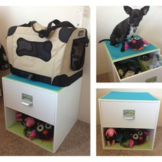 Dog bed & storage... A plain storage cube + contact paper + drawer liner = a great spot to give him easy access to his toys while hiding all his pet supplies away, plus a place to put his carrying case/bed when we're home.