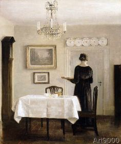 Carl+Holsoe+-+Interior+with+Lady+Carrying+Tray,c.1905