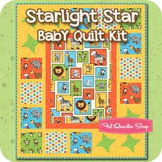 Starlight Star Baby Quilt Kit Featuring Monkey Mischief by Marie Cole