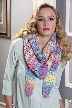 "Cluster Stitch Wrap, free pattern by Rebecca Velasquez for Red Heart Yarns.  Worked tip-to-tip, 69"" x 18""  #crochet #scarf #shawl"
