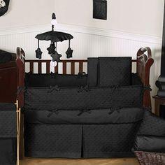 Solid Black Minky Dot Baby Bedding by JoJo Designs - so rockstar!