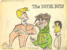 "Model drawings by Chuck Jones, circa 1942-43, graphite and colored pencil on 12 field animation paper for a proposed sequel to ""The Dover Boys"", the 1942 Chuck Jones-directed, ground-breaking, Merrie Melodies cartoon."