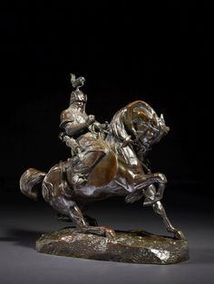 Antoine-Louis Barye Paris, 1795 - 1875 - Tartar warrior stopping his horse EST 4 to 6 thou euros Tartar warrior stopping his horse  bronze with brown patina  old Proof, Barye workshop, circa 1870  Signed 'BARYE' 'TARTAR WARRIOR' BRONZE BROWN PATINA, SIGNED, BY A.-L. BARYE 35 x 32 x 13 cm (13.78 x 12.60 x 5.12 in.) Provenance: Acquired from the Bronze gallery Universe, Paris, 9 May 1990, Geneviève and Pierre Hebey Collection