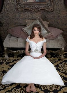 A-line off the shoulder tea length wedding gown