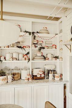 Festive Santa Mug Kitchen Pottery Barn Christmas, Christmas Coffee, Christmas Time Is Here, Christmas Love, Built In Shelves, Built Ins, Santa Mugs, Christmas Decorations, Holiday Decor