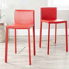 Special Offers - Safavieh Home Collection Madison Red Leather 24-Inch Counter Stools Set of 2 - In stock & Free Shipping. You can save more money! Check It (August 12 2016 at 03:27AM) >> http://kitchenislandusa.net/safavieh-home-collection-madison-red-leather-24-inch-counter-stools-set-of-2/