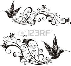 tatuaje colibrí Foto de archivo - 20328946