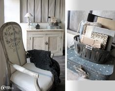 Dans la chambre d'Aurèle du blog Poussière de Grenier, un fauteuil voltaire recouvert de lin imprimé