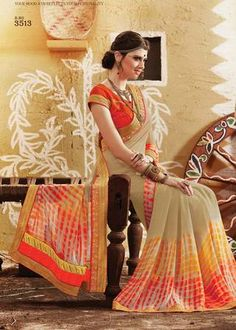 Buy Fashionnow Fancy Cream Havey Embroidered Work Georgette Sarees online at best prices. Get discount on Designer Sarees, Sarees with home delivery from Fashionnow.