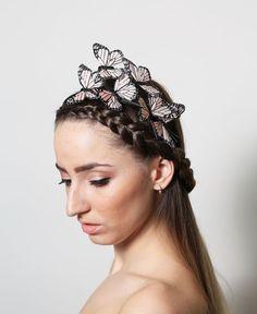 Peach Pastel Butterfly Headband  woodland fairy by neesiedesigns, $24.00