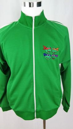 Vintage Teenage Mutant Ninja Turtles  Green Zip Track Jacket Men's Size Medium #TMNT #sweatshirtjacket