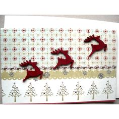 Christmas Card, Reindeer Card, Mixed Media Card, Seasonal Card, Blank... (495 ISK) ❤ liked on Polyvore featuring home and home decor