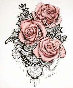 Inked roses and pearls.