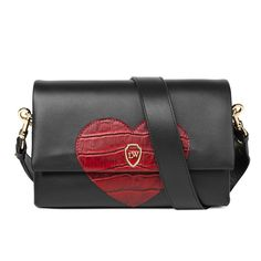 Leowulff 'Hearty' black leather body and red croco embossed leather heart detail bag. A love bag on the go.
