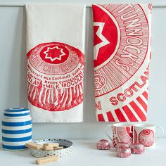 tunnocks teacake organic tea towels by gillian kyle | notonthehighstreet.com