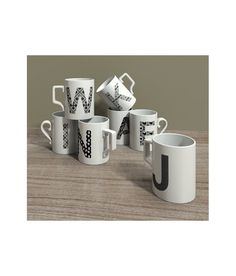 High definition 3D model mug's set of printed letters.