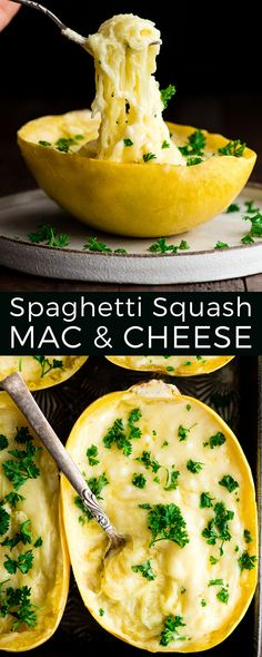 This Easy & Healthy Spaghetti Squash Mac and Cheese Recipe is low-carb and keto! It's a delicious gluten-free dinner, side dish or meal prep idea! #lowcarb #spaghettisquash #macandcheese #glutenfree #easy #recipe #keto  via @joyfoodsunshine
