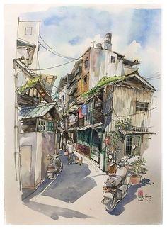 Photo Landscape Sketch, Landscape Drawings, Watercolor Landscape, Landscape Art, Japon Illustration, Watercolor Illustration, Pen And Watercolor, Watercolor Paintings, Art Sketches