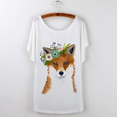 Animal T Shirt Summer Tops Women Clothing Cute Fox Short Sleeve