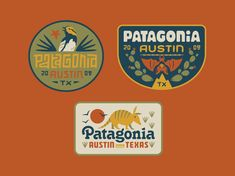 Patagonia Austin designed by Lauren Dickens. Connect with them on Dribbble; Graphic Design Brochure, Branding Design, Patagonia Brand, Outdoor Stickers, Brand Promotion, Fitness Design, Badge Design, Best Logo Design, Typography Logo