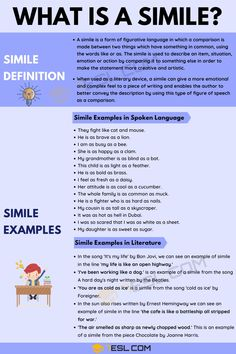 A simile is something which is used regularly in both written text and spoken language in the English language. But what exactly is a simile and how is it used? Gcse English Language, Teaching English Grammar, English Writing Skills, Language And Literature, English Vocabulary Words, English Lessons, Essay Writing, English Idioms, Language Arts