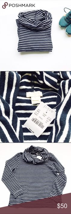 """NWT J Crew Navy striped Funnel Sweatshirt XL Brand New tags attached J Crew Navy """"sweatshirt"""" with white stripes. Cowl neck. Size XL. Lined kangaroo pocket in front. 22.5 in from underarm to underarm laying flat, 26 in from neck down to back hem.  Incredibly comfy!! J. Crew Factory Tops Sweatshirts & Hoodies"""