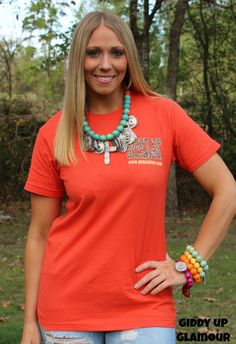 Giddy Up Glamour Leopard Tee Shirt in Orange www.gugonline.com $19.95