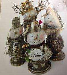 Snowmen created by Dalia Nicole Blevins - The Crowned Swan on Etsy