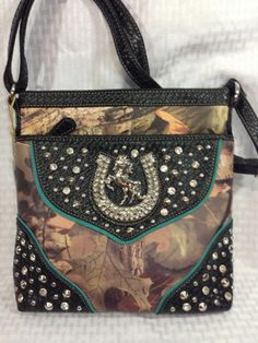 Handbag Crossbody Messenger Camo Rhinestone Horseshoe Western Bag Black Camoflau