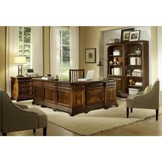 Emery Park Ethan Reversible Desk with Return 2-piece Bookcase Wall Lateral File and Office Chair