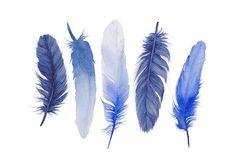 Blue Feather Painting- Watercolor Art Print- Indigo- Shibori Blue- Archival