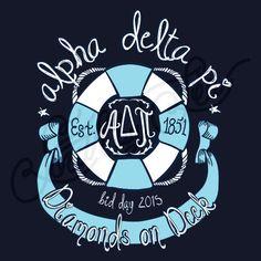 Alpha Delta Pi | ADPi | Diamonds on Deck | Bid Day Tee Shirt Designs | Nautical…