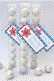 bloom designs: Reindeer Noses, Snowballs and a Little Coal--gumball treats in clear tubes