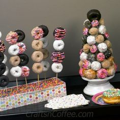 Why not throw a Donut Party for National Donut Day on June or to celebrate the end of a school year, a new graduate, or really, do you need a reason? Hang a Donut Wreath on your front door, disp… Donut Party, Donut Birthday Parties, Snacks Für Party, Birthday Fun, Birthday Ideas, Donut Birthday Cakes, Bday Party Ideas, Girl Birthday Party Themes, Birthday Crafts