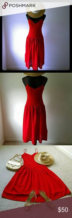 Red silk spaghetti strap dress Sexy flirty tomato red 100% silk dress with two small pockets (one on each side of dress).  Small v-neck front and back. Carole Little Dresses