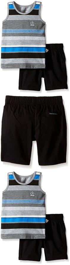 Calvin Klein Baby-Boys Gray Stripes Jersey Tank Top and Black Poplin Shorts, Multi, 24 Months