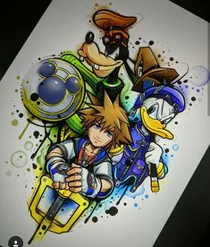 ✨A super cute Kingdom Hearts piece of art by ❤️ ✨I love Donald Duck, he just looks so angry but so adorable🙈 Cartoon Character Tattoos, Cartoon Tattoos, Disney Tattoos, Kingdom Hearts Tattoo, Kingdom Hearts Art, Disney Drawings, Cool Drawings, Artwork Drawings, Disney Designs