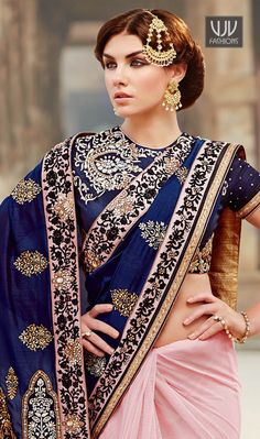 Navy Blue And Pink Premium Net Wedding Designer Saree
