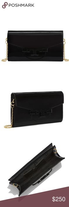 """Tory Burch Patent Black Lena Clutch NWT Tory Burch Patent Black Lena Clutch. New with tag. Retails for $325. •Holds a card case, an iPhone 6 Plus and a lip color •Patent leather •Hidden magnetic snap closure •Chain strap with19.12"""" (48cm) drop •1 interior slide pocket •Height: 4.78"""" (12.0 cm) •Length: 8.57"""" (21.5 cm) •Depth: 0.80"""" (2.0 cm)  No trades 🚫 Listed lower on ♏️erc Tory Burch Bags Clutches & Wristlets"""