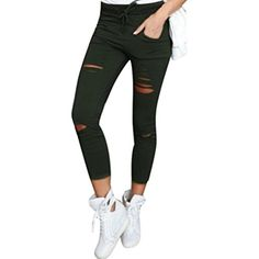 Women Skinny Ripped Pants,FUNIC Women High Waist Stretch Slim Pencil Trousers (2XL, Army green) -- Details can be found by clicking on the image. (This is an affiliate link) #Pedometers