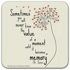 """Sometimes you will never know the value of a moment until it becomes a memory."" - Dr Seuss"
