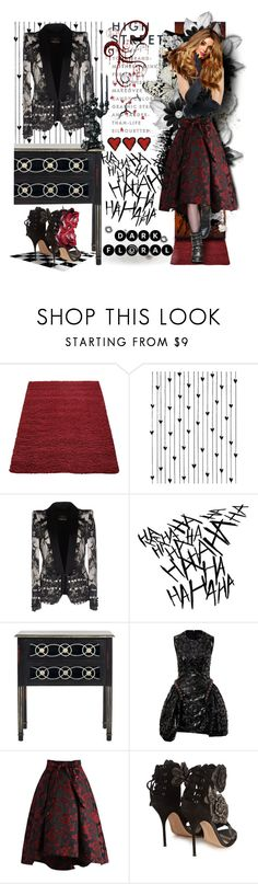 """""""Dark Florals"""" by tempestaartica ❤ liked on Polyvore featuring Camp, Roberto Cavalli, Safavieh, Simone Rocha, Chicwish, Sophia Webster, Disney and Seletti"""