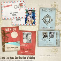 Save the Date Destination Wedding CARD templates for photographers. $15.00, via Etsy.