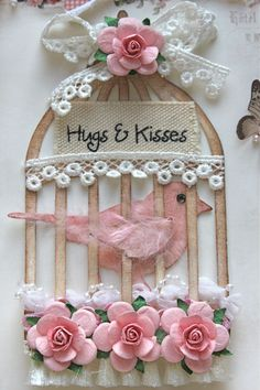 Hugs and Kisses (Pion Design/Green Tara) Card Tags, Gift Tags, Shabby Chic Cards, Candy Cards, Handmade Tags, Bird Cards, Scrapbook Embellishments, Homemade Cards, Paper Flowers