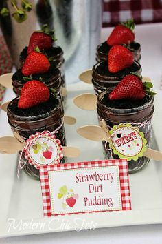National Pudding Day!  Check out the yummy dirt pudding with Adisten's Closet's Strawberry party printables!
