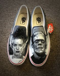 Custom Frankenstein Van Toms Converse or Canvas by MyCustomKicks