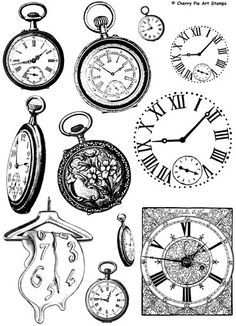 $26.30 WATCHES, clocks, Time - set of unmounted rubber stamps by Cherry Pie